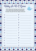 Baby ABC Game - Printable Download - Navy Gray Whale Baby Shower Game - B15007