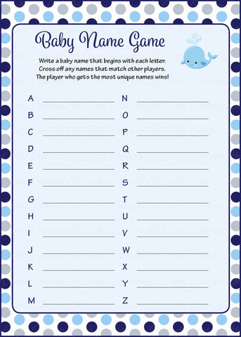 Baby Name - Printable Download - Navy Gray Whale Baby Shower Game - B15007