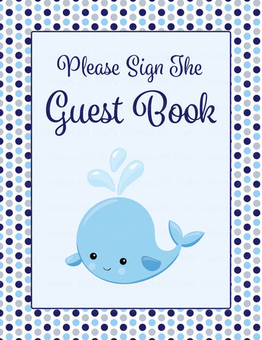 Baby Shower Guest List Set - Printable Download - Navy Gray Whale Baby Shower Decorations - B15007