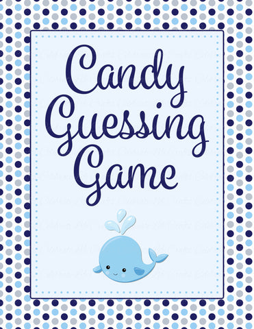 Candy Guessing Game - Printable Download - Navy Gray Whale Baby Shower Game - B15007