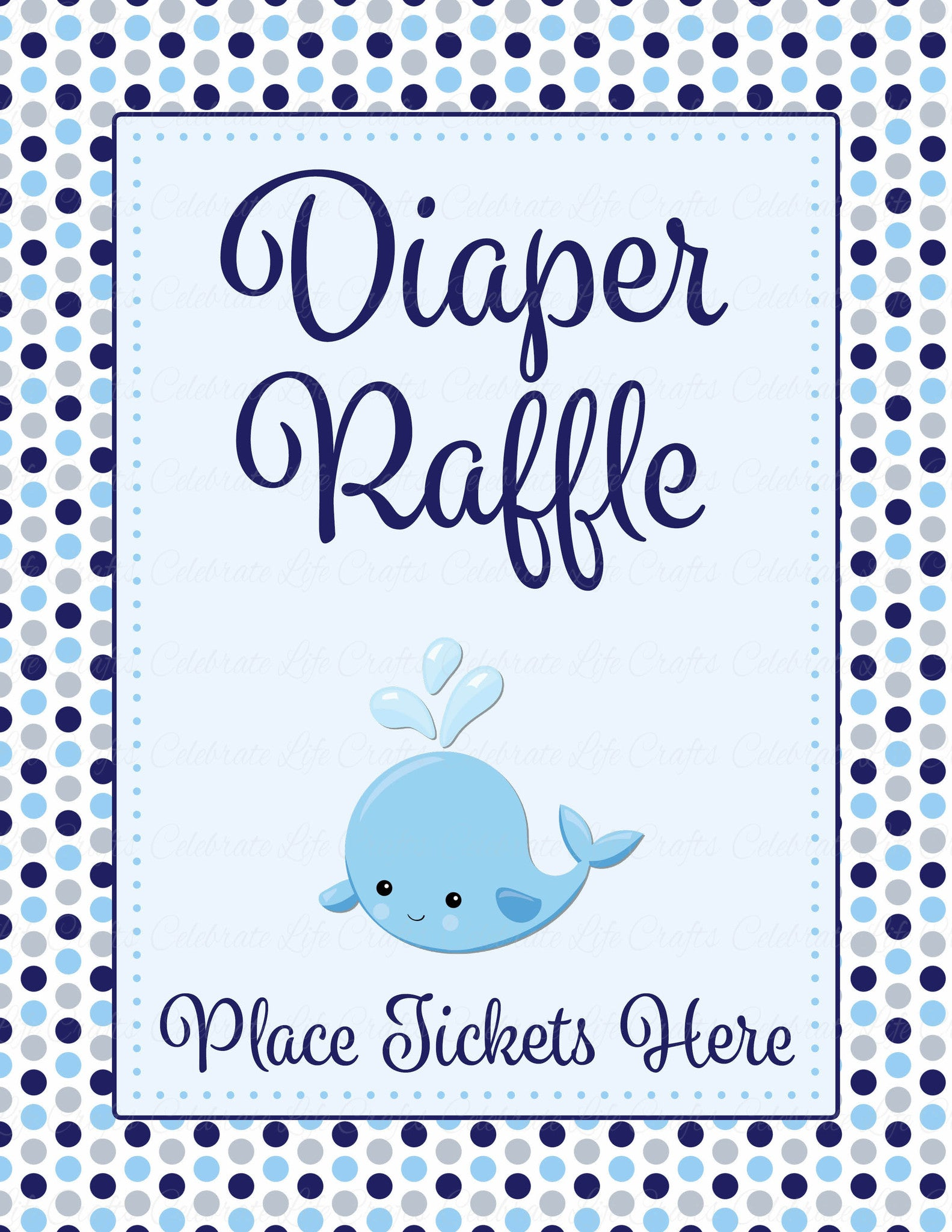 Diaper Raffle Tickets for Baby Shower - Whale Baby Shower Theme for ...