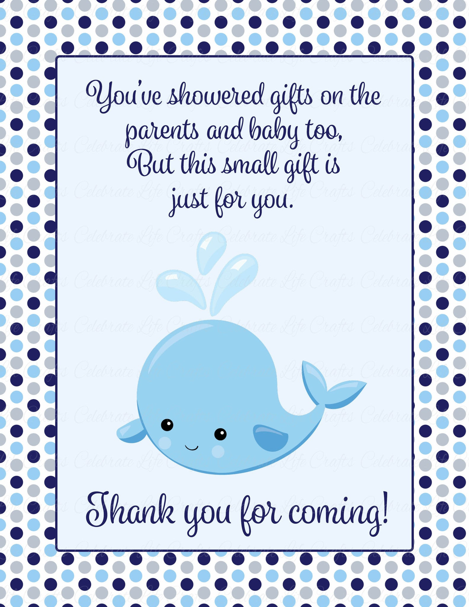 Thank You Favor Sign For Baby Shower Whale Baby Shower Theme