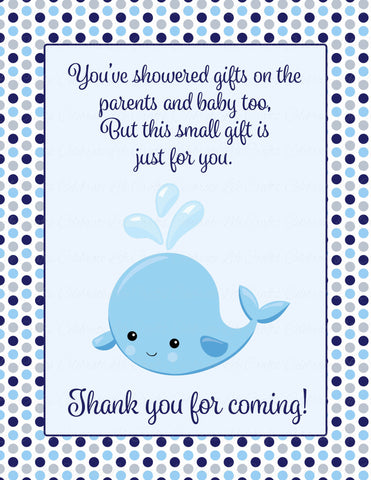 Thank You Favor Sign - Printable Download - Navy Gray Whale Baby Shower Decorations - B15007