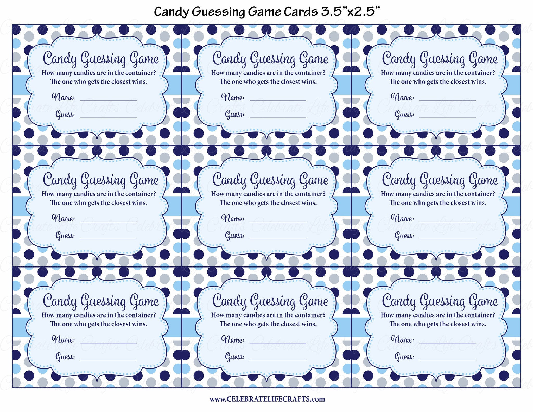 ... Candy Guessing Game   Printable Download   Navy Gray Whale Baby Shower  Game   B15007