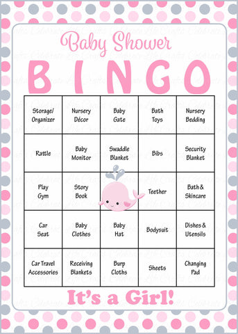Whale Baby Bingo Cards - Printable Download - Prefilled - Baby Shower Game for Girl - Pink Gray Polka Dots - B15008