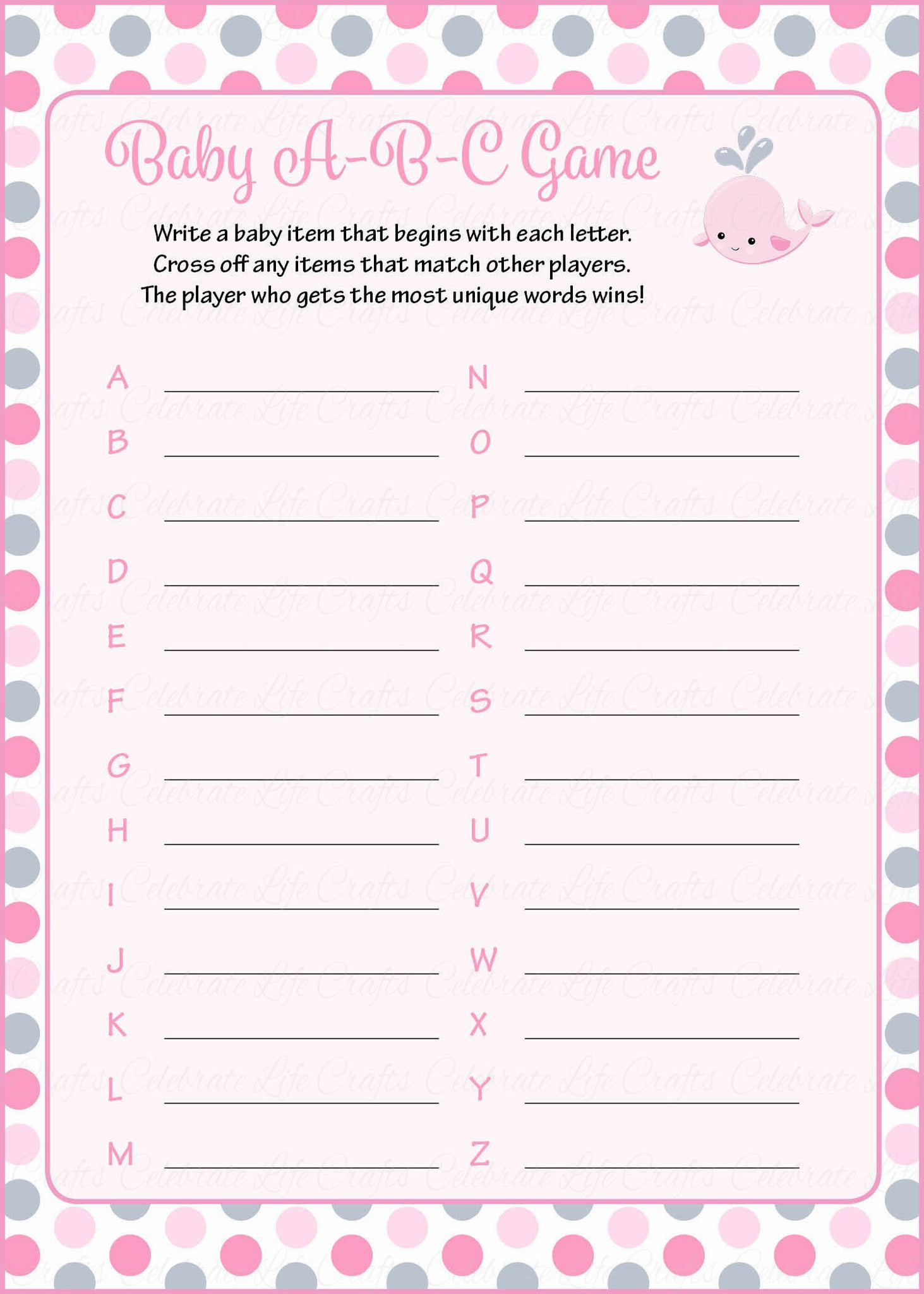 Baby Abcs Baby Shower Game Whale Baby Shower Theme For Baby Girl