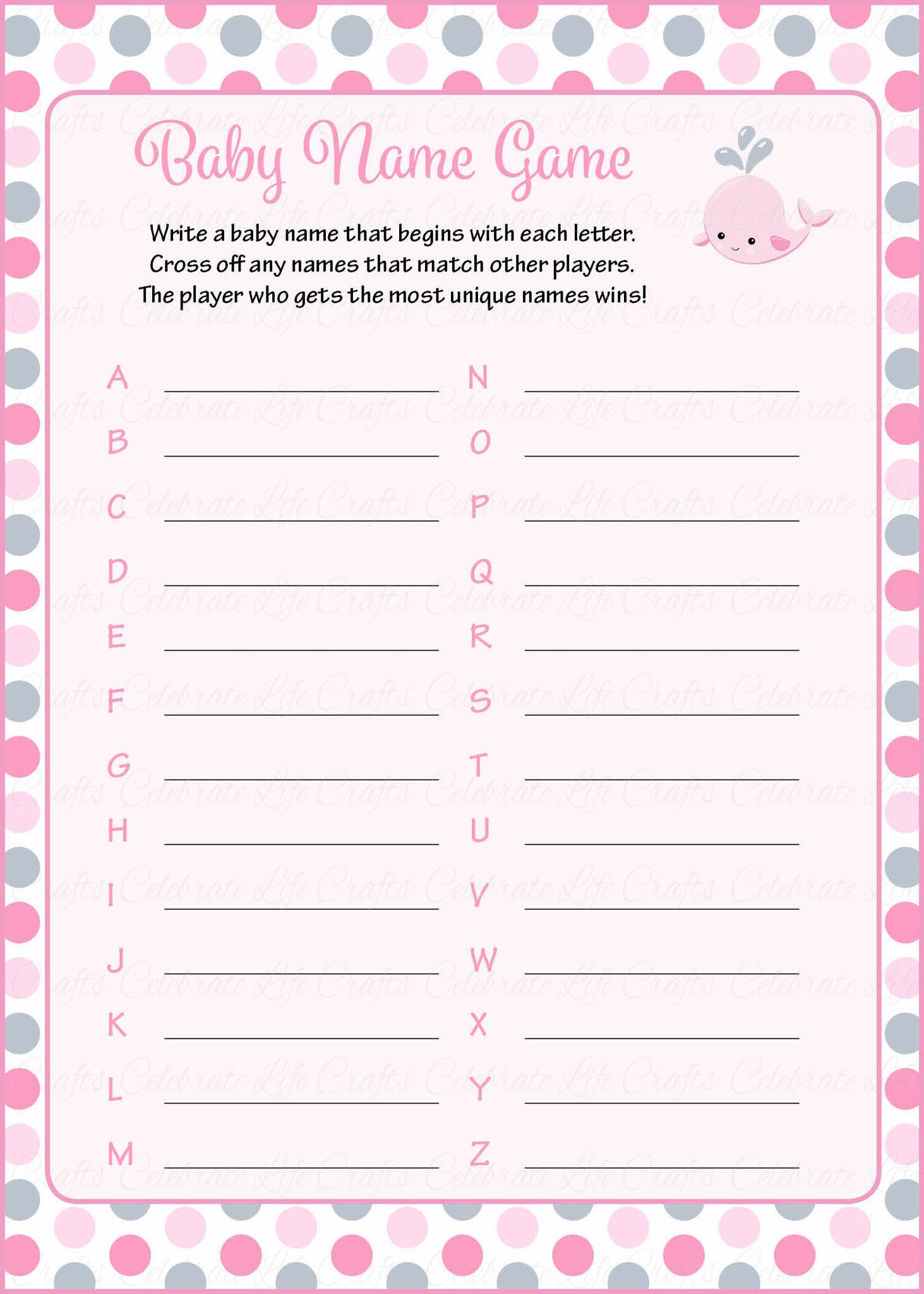 Baby Name   Printable Download   Pink Gray Whale Baby Shower Game   B15008.