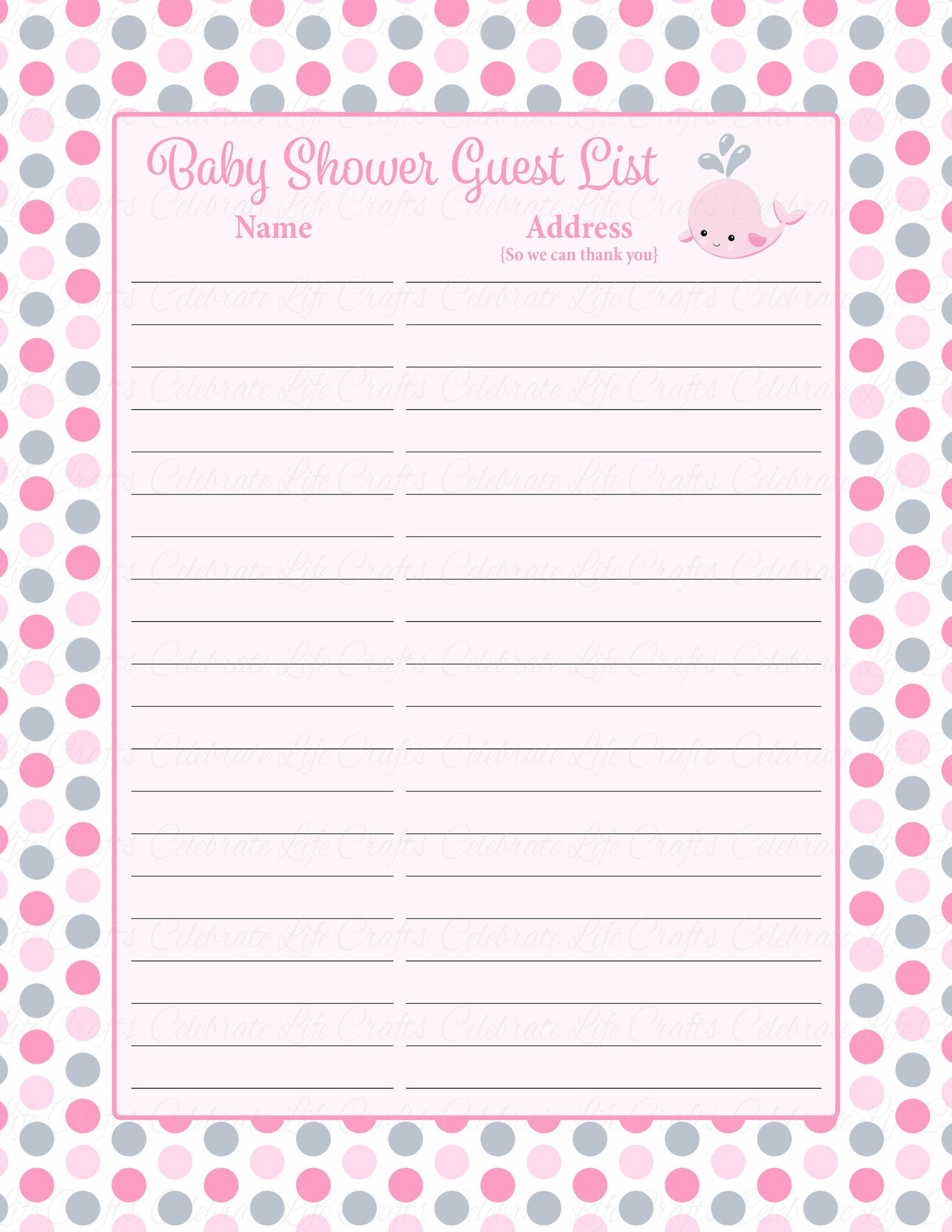 Attractive ... Baby Shower Guest List Set   Printable Download   Pink Gray Whale Baby  Shower Decorations   Pertaining To Printable Baby Shower Guest List