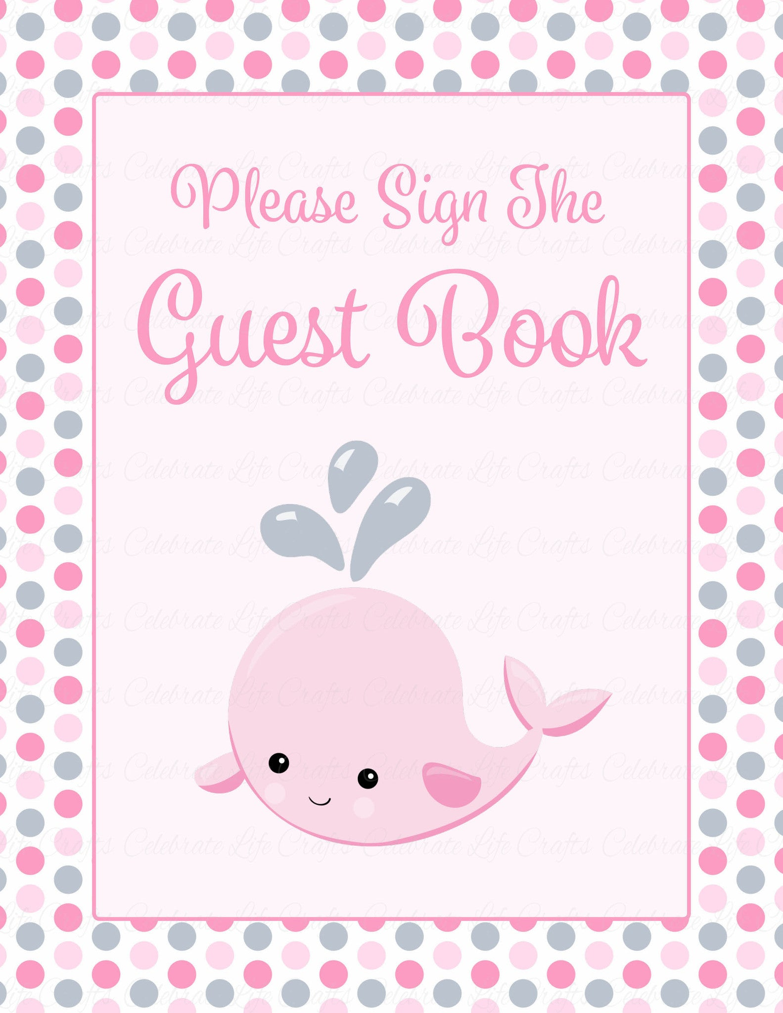 Baby Shower Guest List Set Whale Baby Shower Theme for Baby Girl