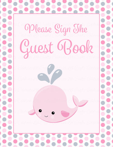 Baby Shower Guest List Set - Printable Download - Pink Gray Whale Baby Shower Decorations - B15008