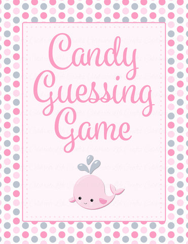 Candy Guessing Game - Printable Download - Pink Gray Whale Baby Shower Game - B15008