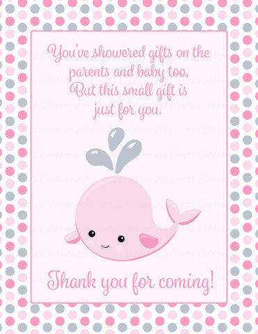 Thank You Favor Sign - Printable Download - Pink Gray Whale Baby Shower Decorations - B15008