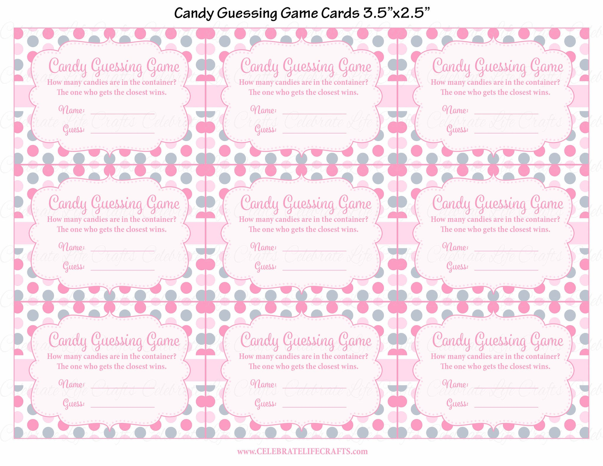 ... Candy Guessing Game   Printable Download   Pink Gray Whale Baby Shower  Game   B15008