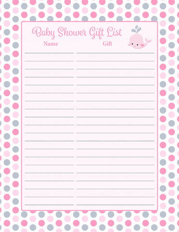 Baby Shower Gift List Set - Printable Download - Pink Gray Whale Baby Shower Decorations - B15008