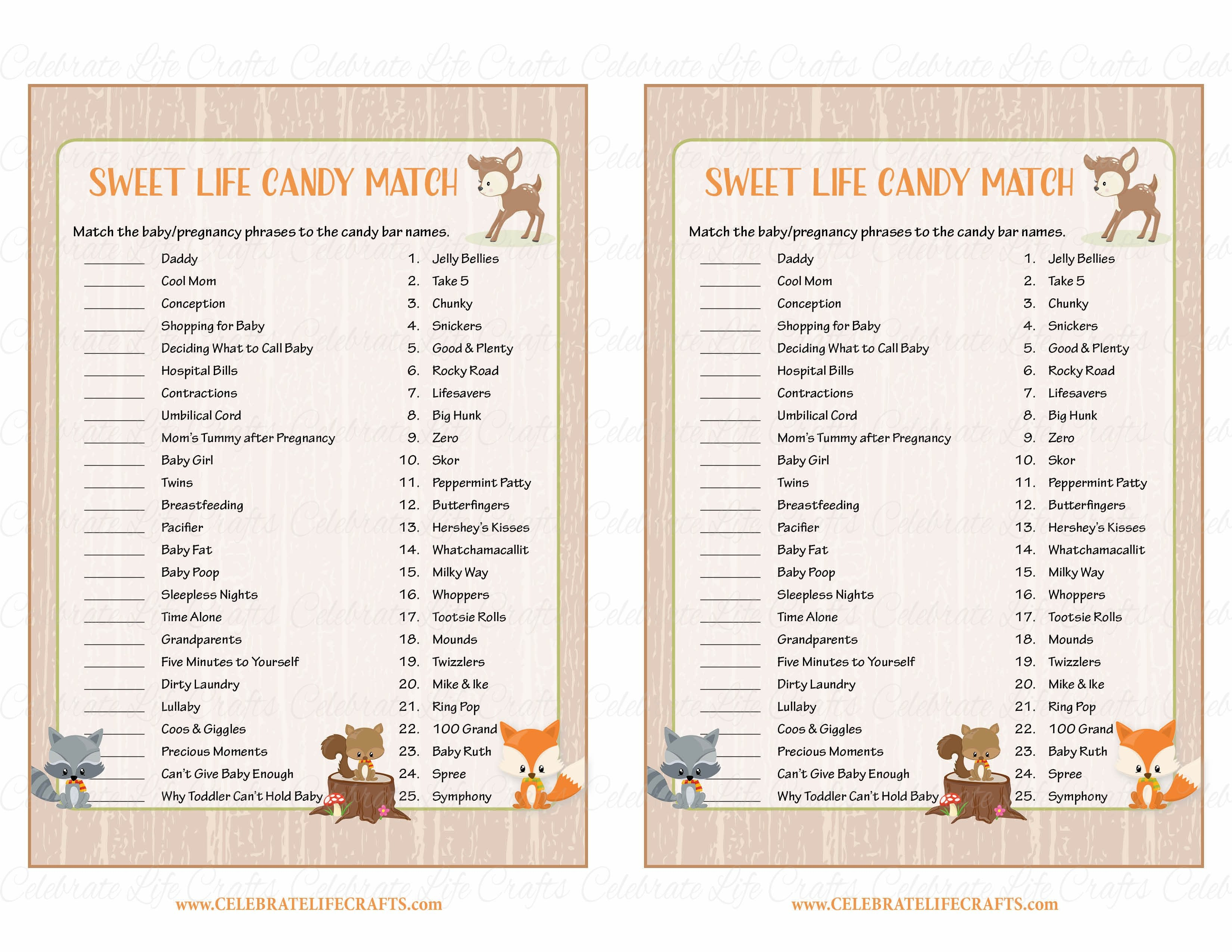 Sweet Life Candy Match Baby Shower Game Forest Animals Woodland