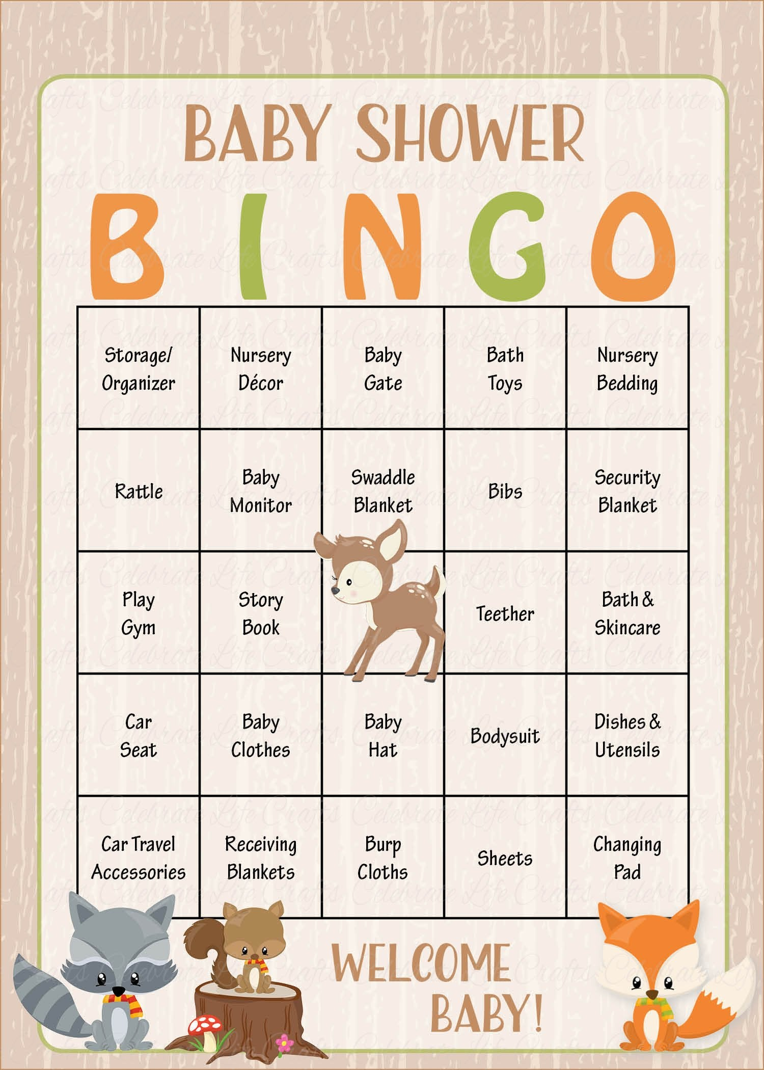 Woodland Baby Bingo Cards   PRINTABLE DOWNLOAD   Prefilled   Baby Shower  Game   Forest Animals   B18002.