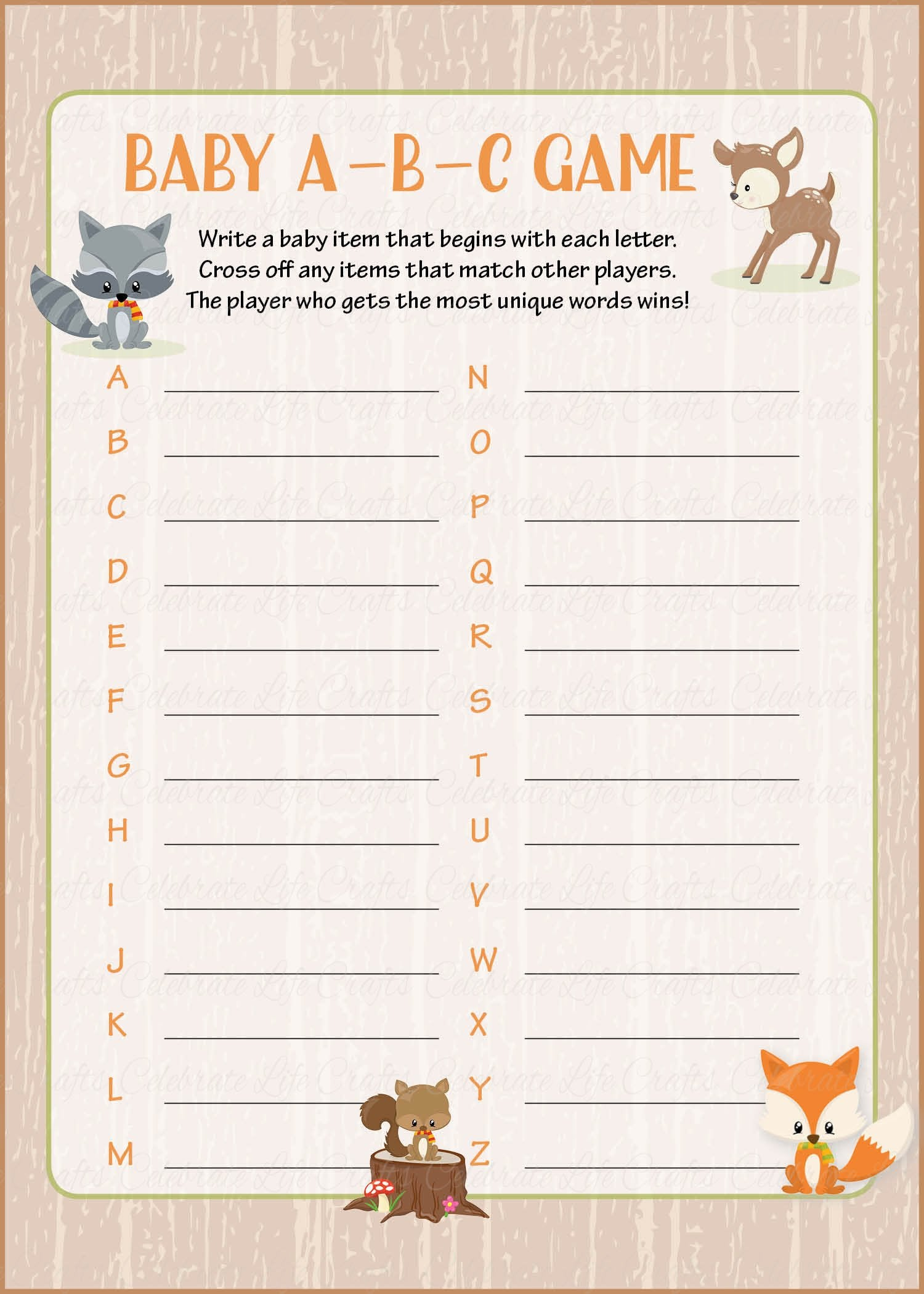 Baby Abcs Baby Shower Game Forest Animals Woodland Baby Shower