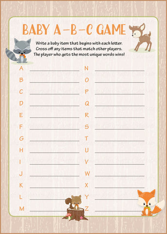 Baby ABC Game - PRINTABLE DOWNLOAD - Forest Animals Woodland Baby Shower Game - B18002