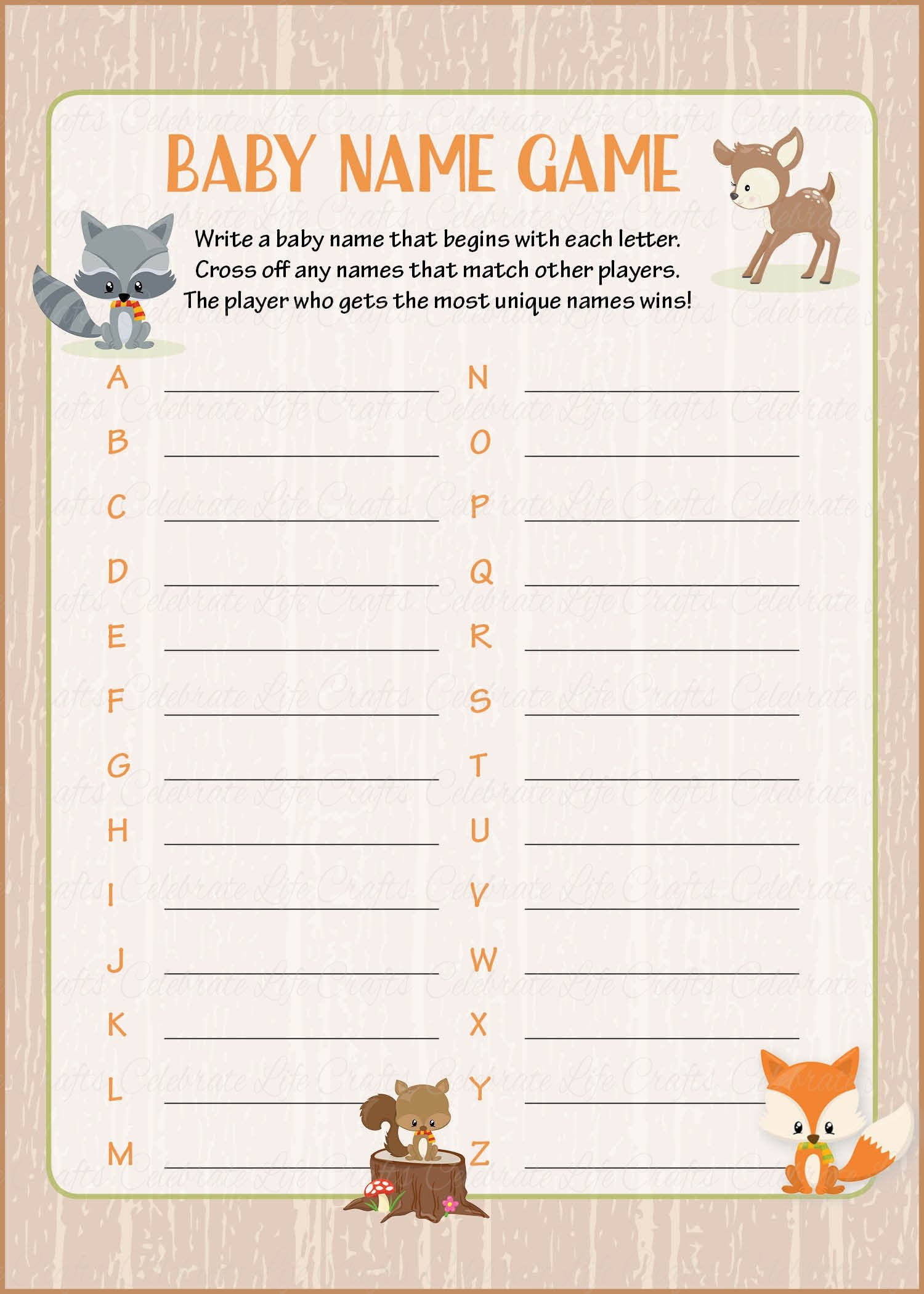 Baby Name Baby Shower Game Forest Animals Woodland Baby