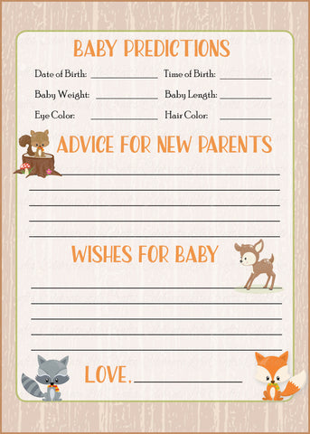 Prediction & Advice Cards - PRINTABLE DOWNLOAD - Forest Animals Woodland Baby Shower Activity - B18002
