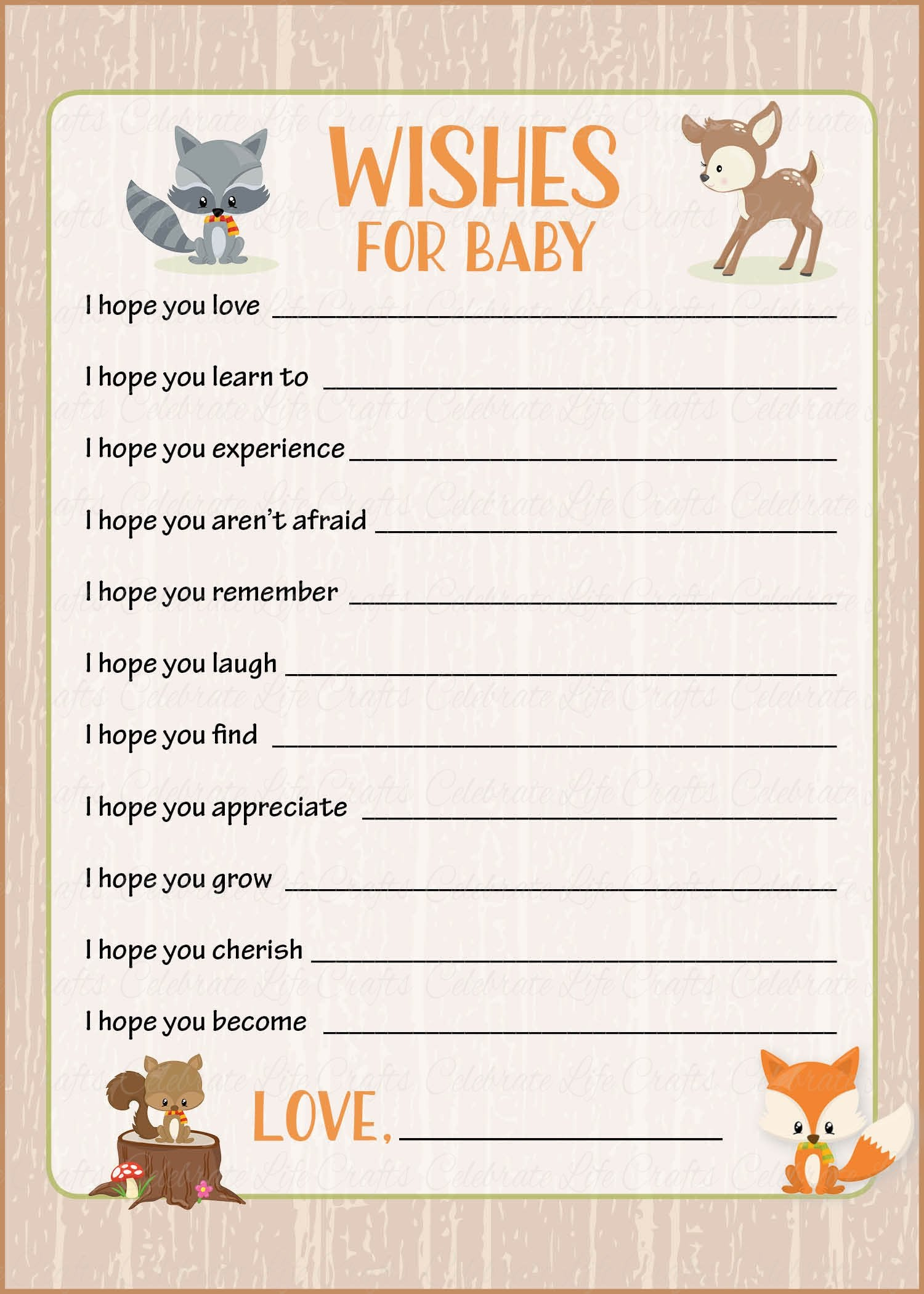 picture regarding Wishes for Baby Printable identified as Wants for Kid Playing cards - PRINTABLE Down load - Forest Pets Woodland Child Shower Recreation - B18002