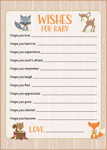 Wishes for Baby Cards - PRINTABLE DOWNLOAD - Forest Animals Woodland Baby Shower Activity - B18002