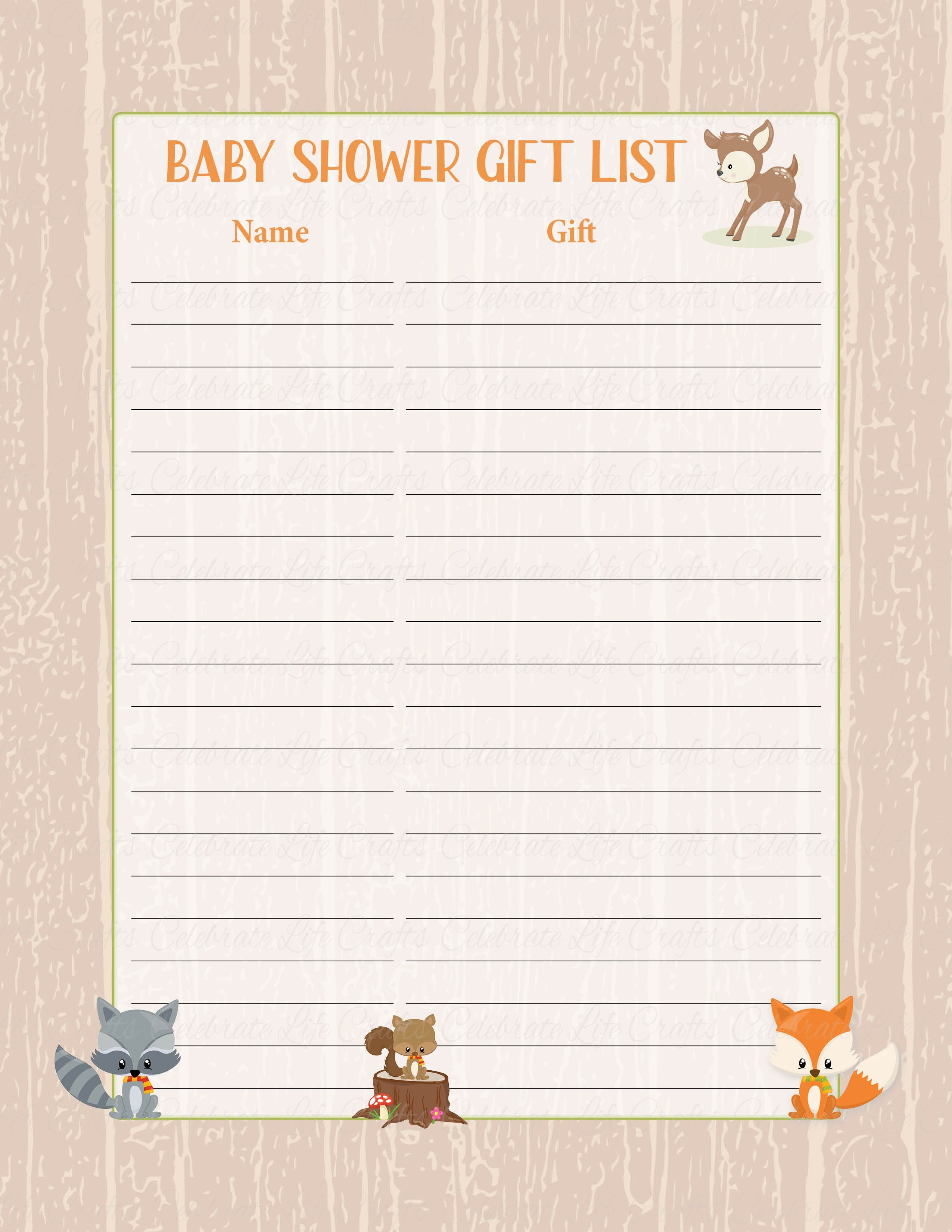 picture relating to Baby Shower Gift List Printable called Kid Shower Present Checklist Mounted - PRINTABLE Down load - Forest Pets Woodland Child Shower Decorations - B18002