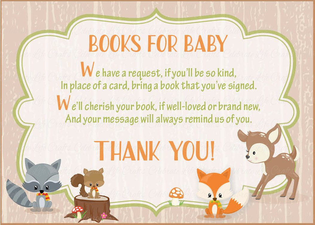 Books For Baby Invitation Inserts For Baby Shower Forest Animals Woodland Baby Shower Theme Celebrate Life Crafts