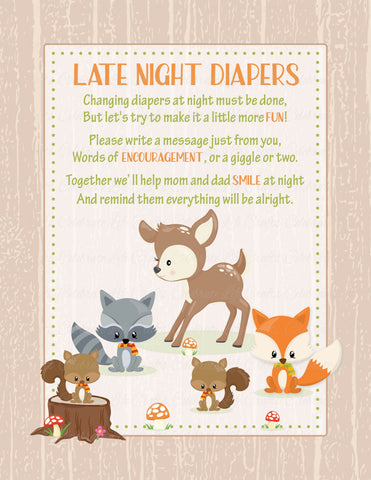 graphic about Late Night Diapers Printable named Late Evening Diapers Indicator - PRINTABLE Down load - Forest Pets Woodland Child Shower Diaper Messages - B18002