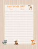 Baby Shower Guest List Set - PRINTABLE DOWNLOAD - Forest Animals Woodland Baby Shower Decorations - B18002