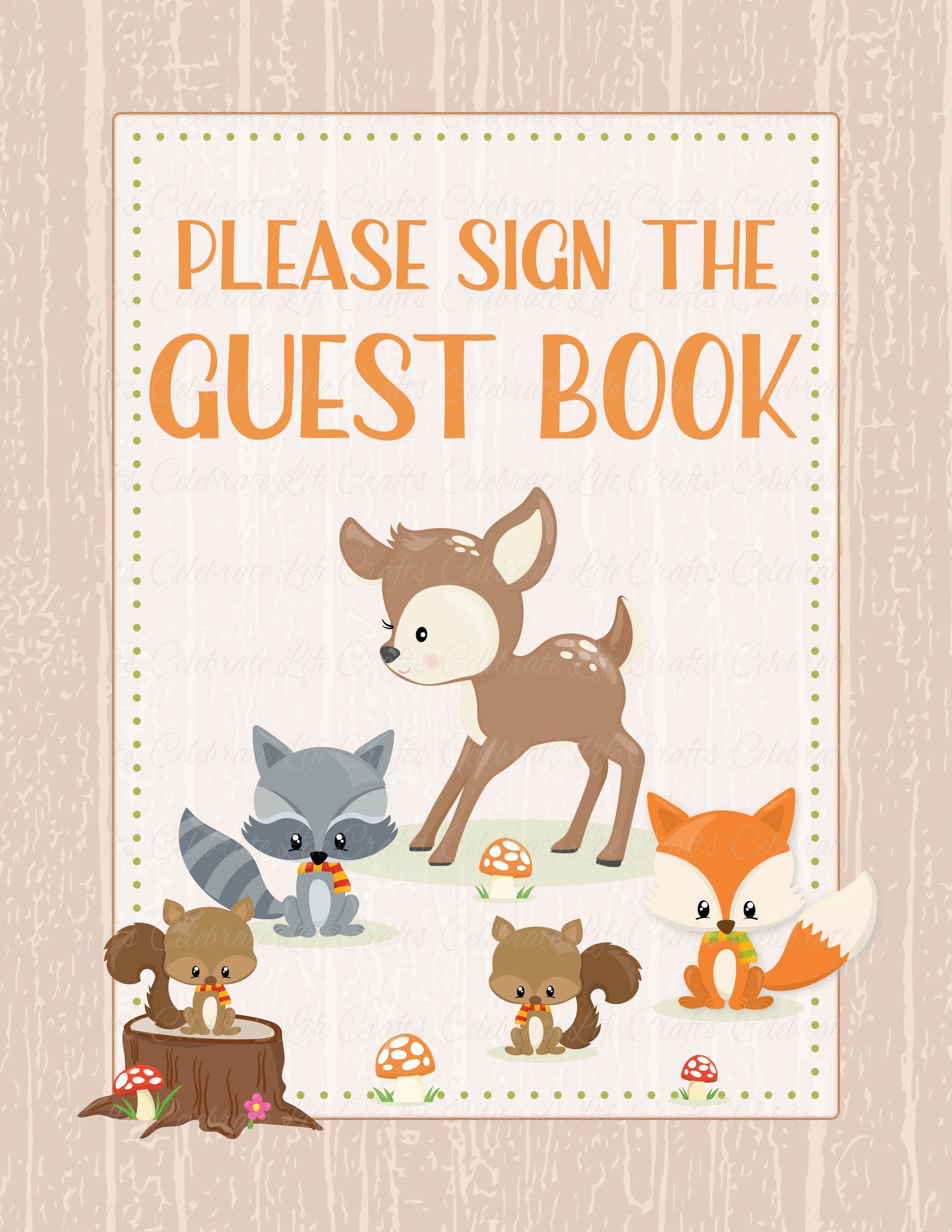 Baby Shower Guest List Set   PRINTABLE DOWNLOAD   Forest Animals Woodland  Baby Shower Decorations   B18002.