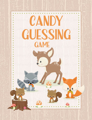 Candy Guessing Game - PRINTABLE DOWNLOAD - Forest Animals Woodland Baby Shower Game - B18002