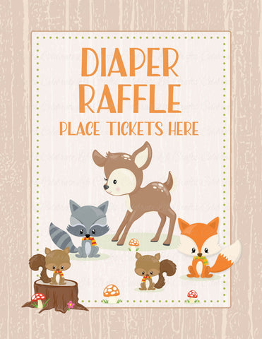 Diaper Raffle Tickets - PRINTABLE DOWNLOAD - Forest Animals Woodland Baby Shower Invitation Inserts - B18002