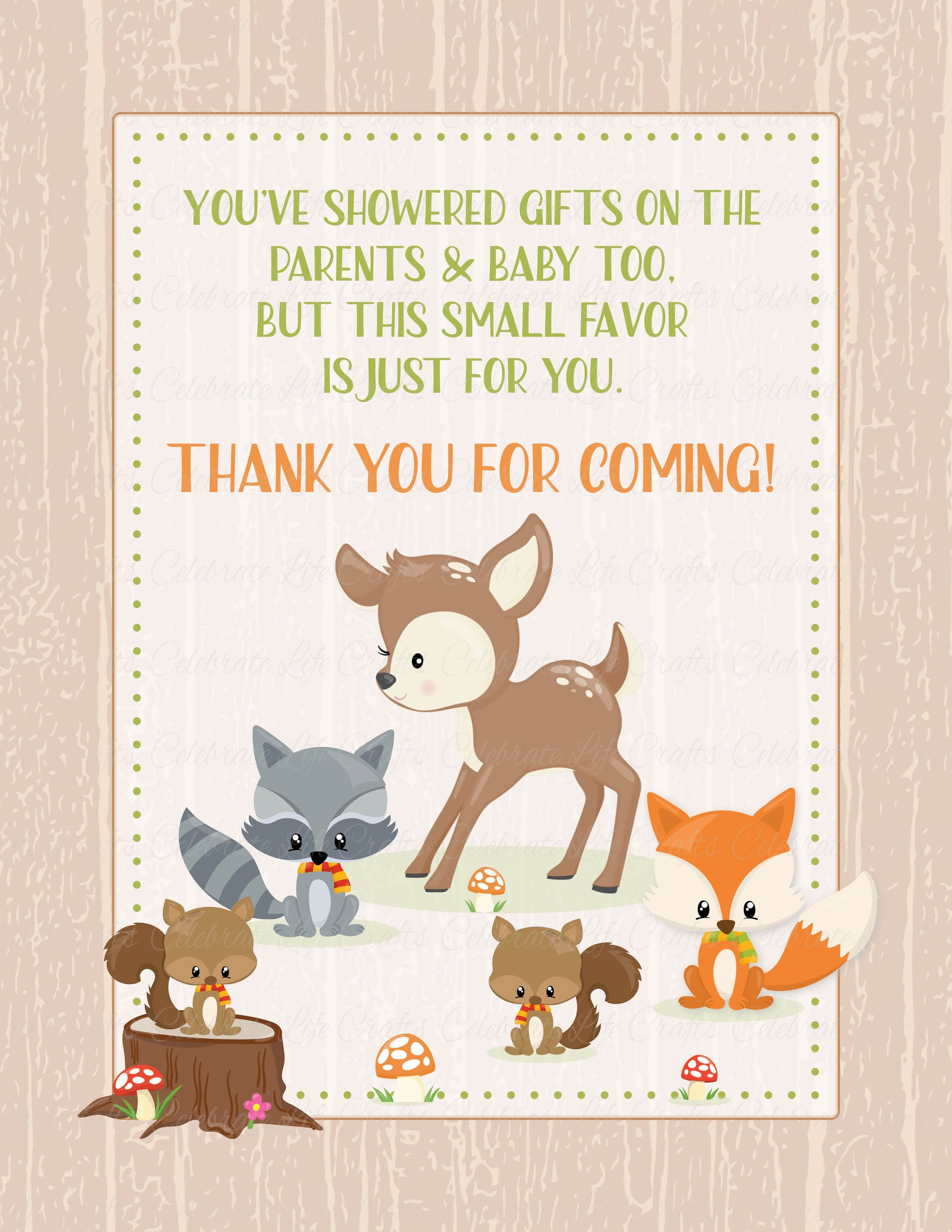 Thank You Favor Sign   PRINTABLE DOWNLOAD   Forest Animals Woodland Baby  Shower Decorations   B18002