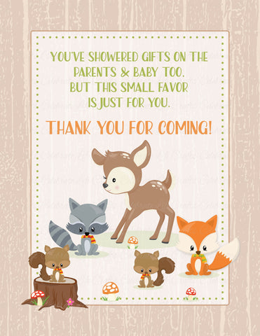 Thank You Favor Sign - PRINTABLE DOWNLOAD - Forest Animals Woodland Baby Shower Decorations - B18002