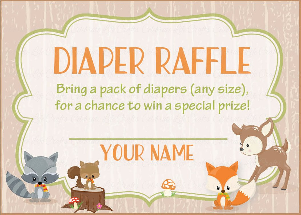 Diaper raffle tickets for baby shower forest animals woodland baby diaper raffle tickets printable download forest animals woodland baby shower invitation inserts b18002 filmwisefo Images