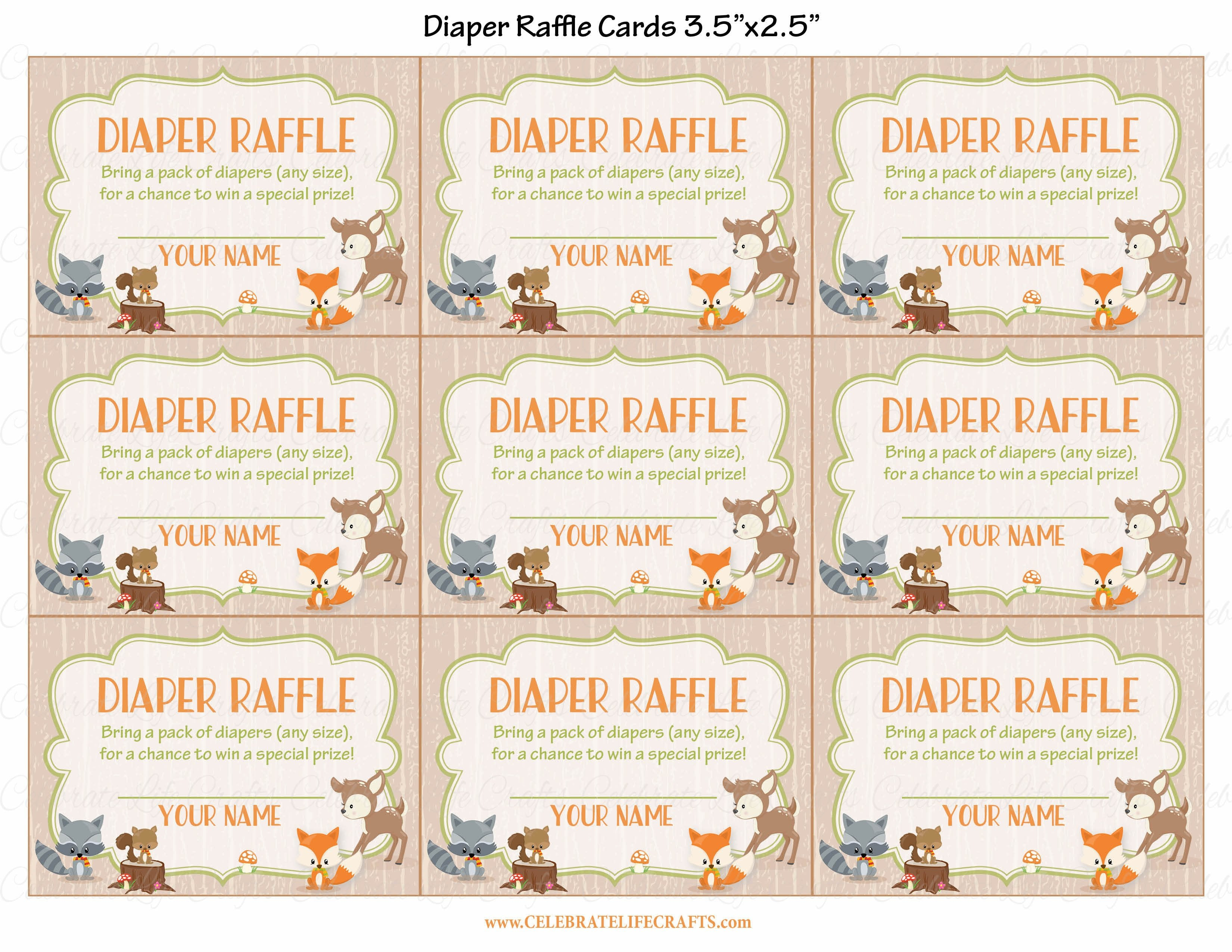 Diaper raffle tickets for baby shower forest animals woodland baby diaper raffle tickets printable download forest animals woodland baby shower invitation inserts b18002 filmwisefo