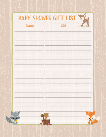 Baby Shower Gift List Set - PRINTABLE DOWNLOAD - Forest Animals Woodland Baby Shower Decorations - B18002