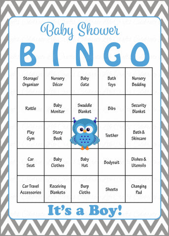 Owl Baby Bingo Cards - Printable Download - Prefilled - Baby Shower Game for Boy - Blue & Gray