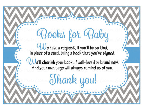 Books for Baby Cards - Printable Download - Blue & Gray Baby Shower Invitation Inserts - Blue & Gray - B2001