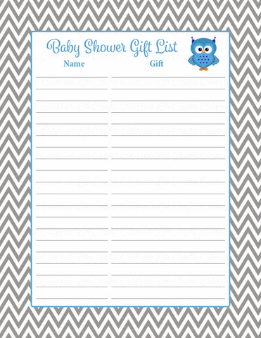 Baby Shower Gift List Set - Printable Download - Blue & Gray Baby Shower Decorations - B2001