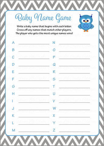 Baby Name - Printable Download - Blue & Gray Baby Shower Game - B2001