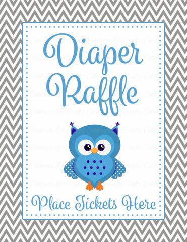 Diaper Raffle Tickets - Printable Download - Blue & Gray Baby Shower Invitation Inserts - B2001
