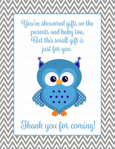 Thank You Favor Sign - Printable Download - Blue & Gray Baby Shower Decorations - B2001