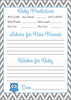 Prediction & Advice Cards - Printable Download - Blue & Gray Baby Shower Activity - B2001