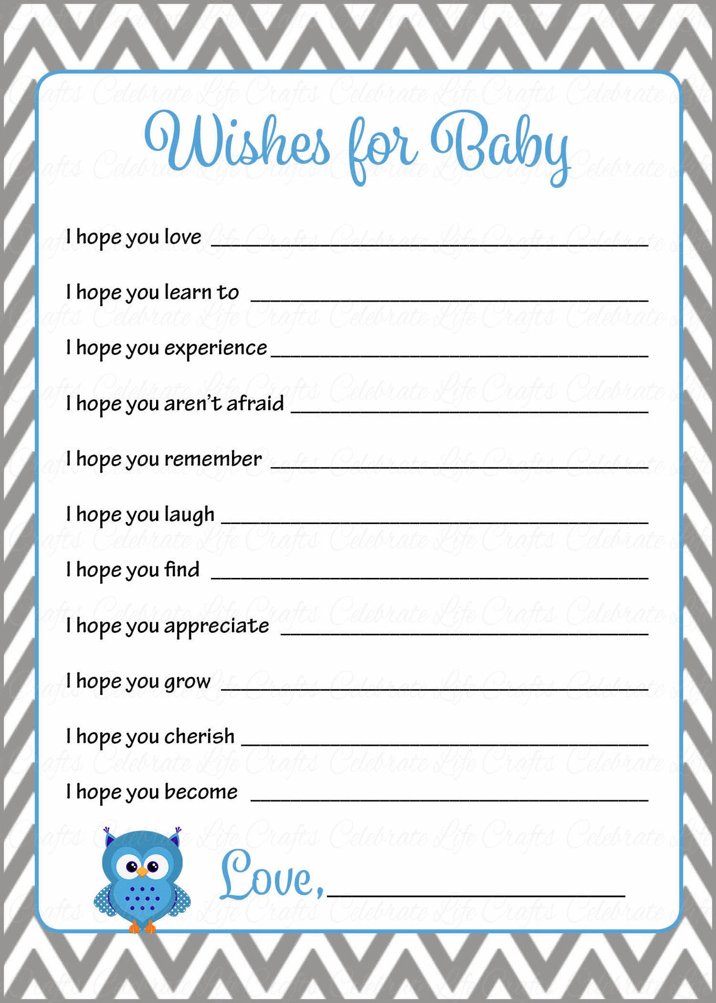 Wishes for baby shower activity owl baby shower theme for Wishes for baby template printable