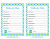 Wishes for Baby Cards - Printable Download - Blue & Green Baby Shower Activity - B2002