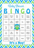 Owl Baby Bingo Cards - Printable Download - Prefilled - Baby Shower Game for Boy - Blue & Lime