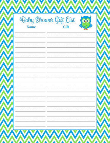 Baby Shower Gift List Set - Printable Download - Blue & Green Baby Shower Decorations - B2002