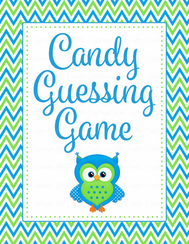 Candy Guessing Game - Printable Download - Blue & Green Baby Shower Game - B2002